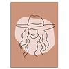 DesignClaud Vrouw met hoed - Grafische poster