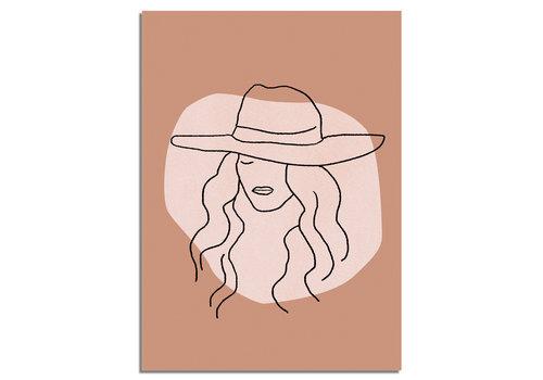 DesignClaud Frau mit Hut - Grafik-Poster