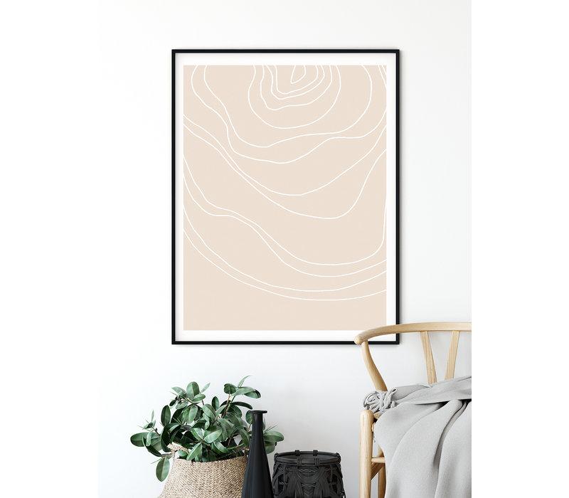 Lijnen Zandkleur - Grafische poster