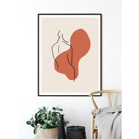 Vrouw lichaam - Grafische poster - Rood