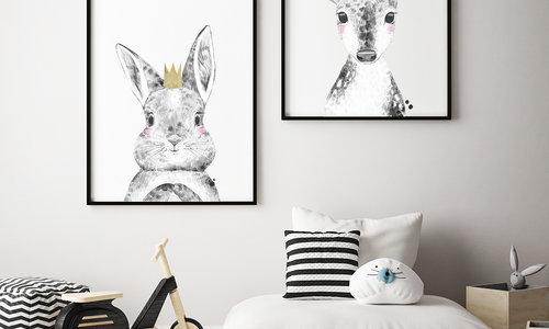 Kinderkamer posters: lieve dieren met vrolijke outfits