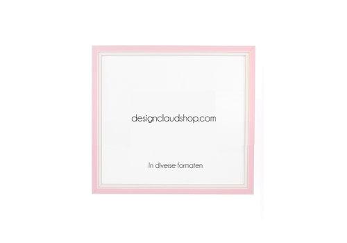 DesignClaud Houten wissellijst Roze + Wit Fotolijst met Glas - 3D effect