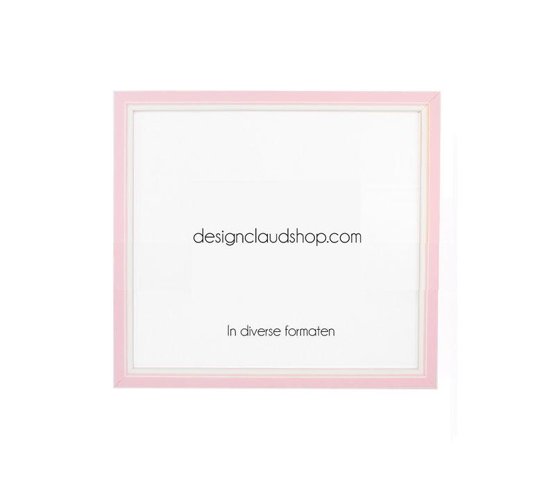 Houten wissellijst Roze + Wit Fotolijst met Glas - 3D effect