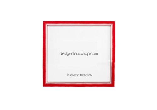 DesignClaud Holz-Wechselrahmen Rot + Weiß Bilderrahmen mit Glas - 3D Effekt