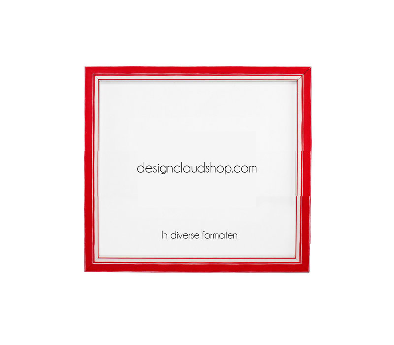 Houten wissellijst - Fotolijst met Glas - 3D effect - Rood + Wit