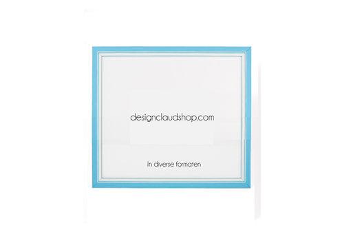 DesignClaud Holz-Wechselrahmen Hellblau + Weiß Bilderrahmen mit Glas - 3D Effekt
