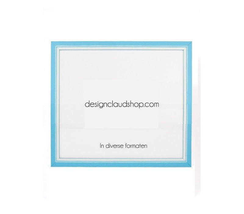 Houten wissellijst - Fotolijst met Glas - 3D effect - Lichtblauw + Wit
