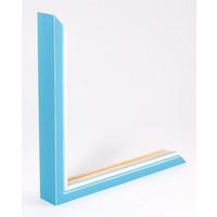 Holz-Wechselrahmen Hellblau + Weiß Bilderrahmen mit Glas - 3D Effekt