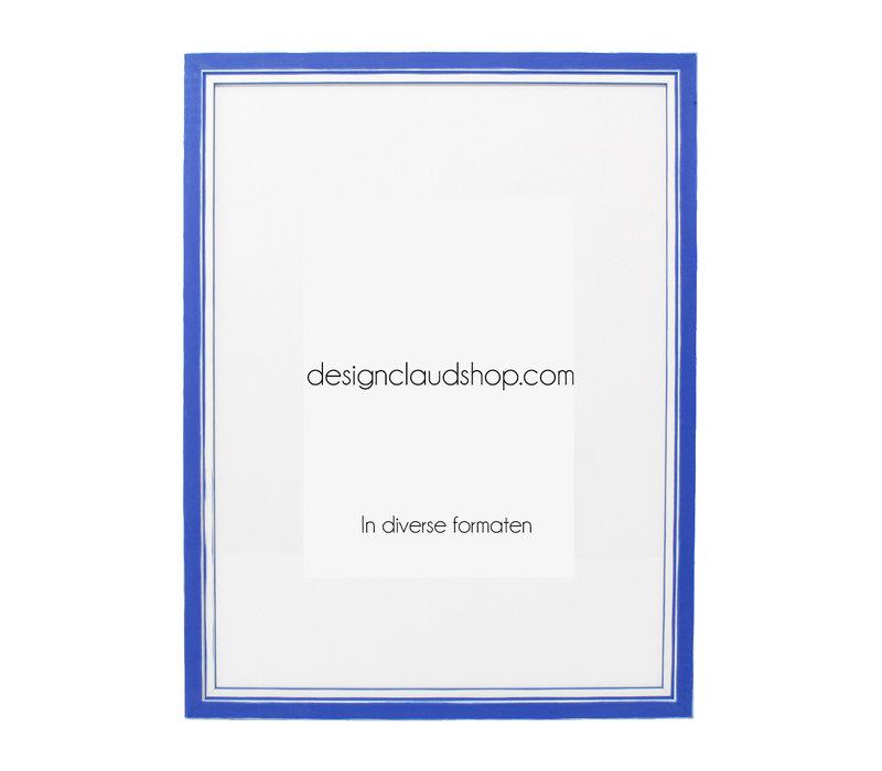 Holz-Wechselrahmen Blau + Weiß Bilderrahmen mit Glas - 3D Effekt