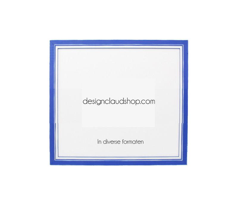 Houten wissellijst Blauw + Wit Fotolijst met Glas - 3D effect