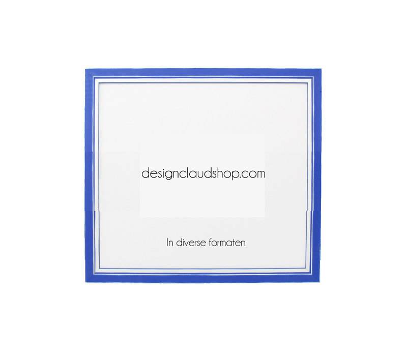 Houten wissellijst - Fotolijst met Glas - 3D effect - Blauw + Wit