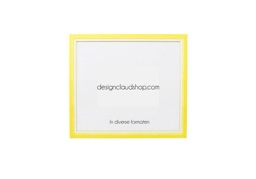 DesignClaud Holz-Wechselrahmen Gelb + Weiß Bilderrahmen mit Glas - 3D Effekt