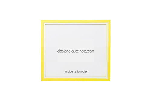 DesignClaud Houten wissellijst Geel + Wit Fotolijst met Glas - 3D effect