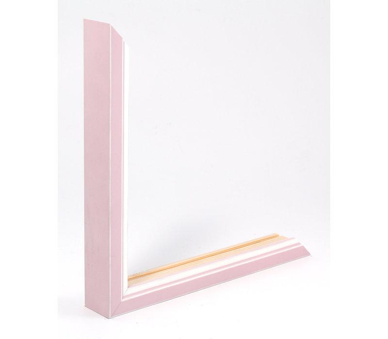 Holz-Wechselrahmen Rosa + Weiß Bilderrahmen mit Glas - 3D Effekt