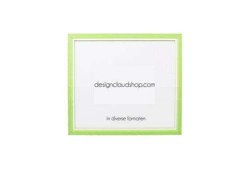 DesignClaud Houten wissellijst Groen + Wit Fotolijst met Glas - 3D effect