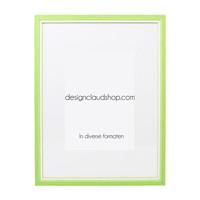 Houten wissellijst Groen + Wit Fotolijst met Glas - 3D effect
