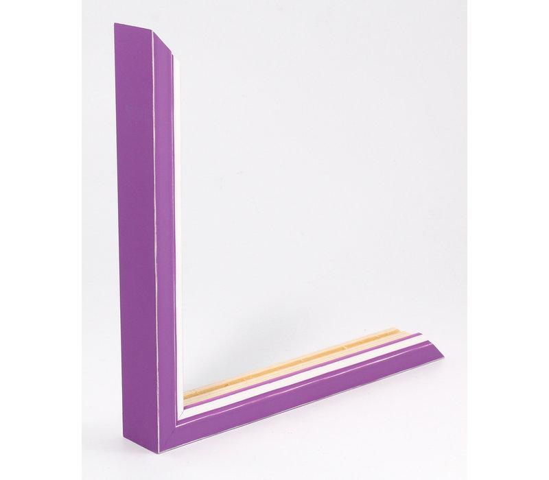 Houten wissellijst Paars + Wit Fotolijst met Glas - 3D effect