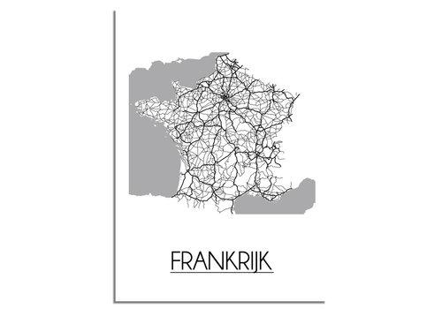 DesignClaud Frankrijk Plattegrond poster