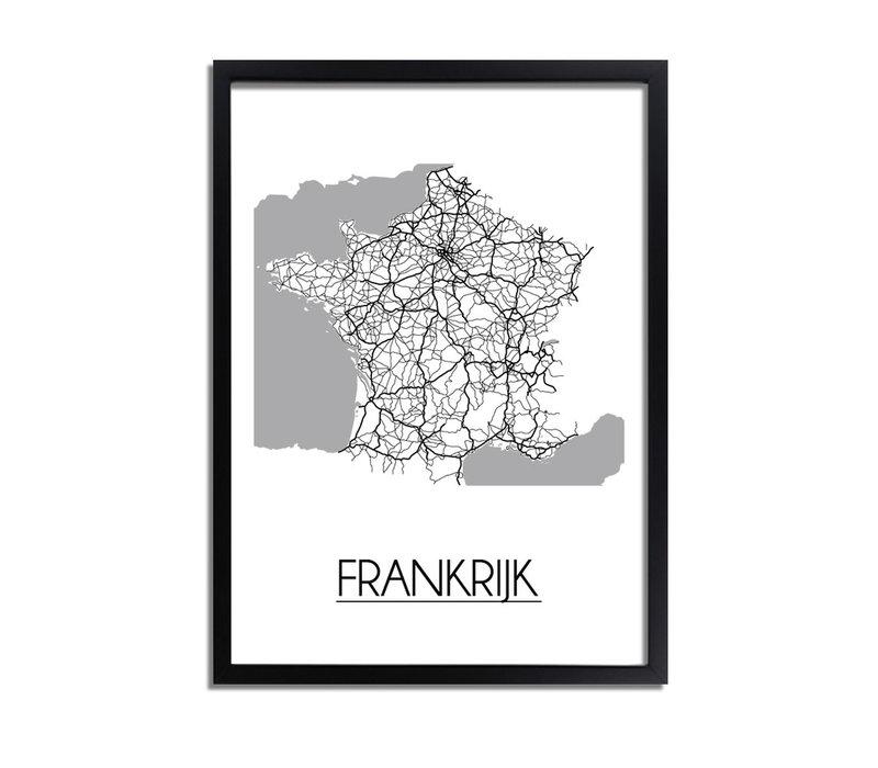 Frankrijk Stadtplan-poster