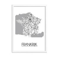 Frankrijk Plattegrond poster