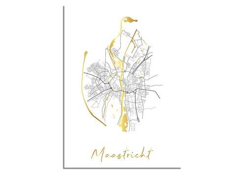 DesignClaud Maastricht Plattegrond Stadskaart poster met goudfolie bedrukking