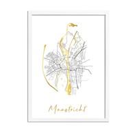 Maastricht Karte Stadtplan Poster mit Goldfoliendruck