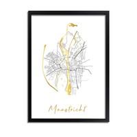 Maastricht Plattegrond Stadskaart poster met goudfolie bedrukking