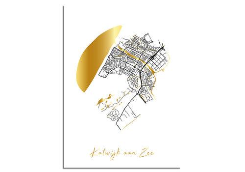DesignClaud Katwijk aan Zee Plattegrond Stadskaart poster met goudfolie bedrukking