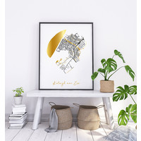 Katwijk aan Zee Plattegrond Stadskaart poster met goudfolie bedrukking
