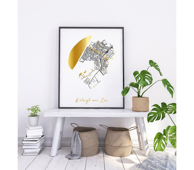 Katwijk aan Zee Karte Stadtplan Poster mit Goldfoliendruck