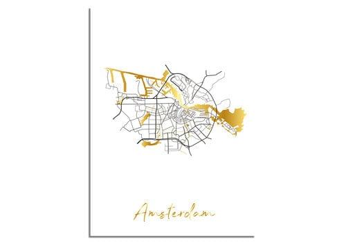 DesignClaud Amsterdam Plattegrond Stadskaart poster met goudfolie bedrukking