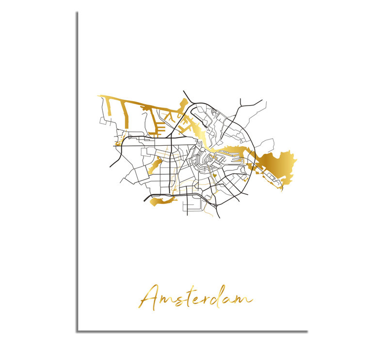 Amsterdam Plattegrond Stadskaart poster met goudfolie bedrukking