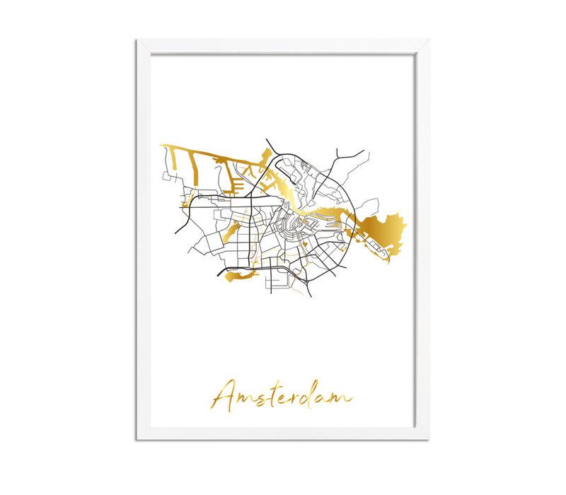 Amsterdam Karte Stadtplan Poster mit Goldfoliendruck