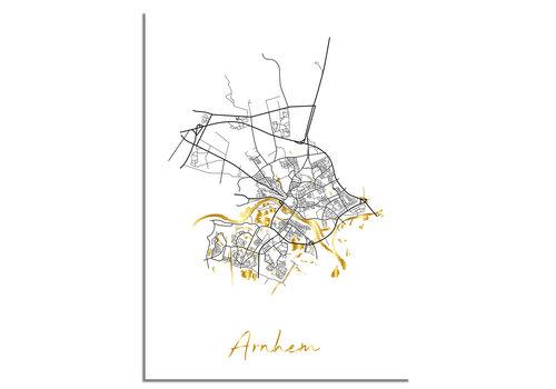 DesignClaud Arnhem Plattegrond Stadskaart poster met goudfolie bedrukking