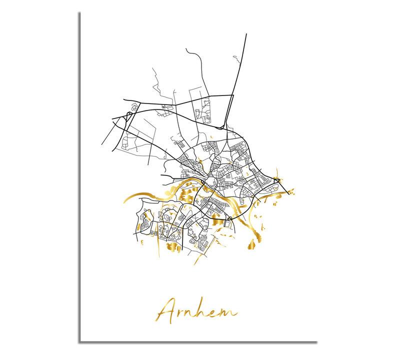 Arnhem Plattegrond Stadskaart poster met goudfolie bedrukking