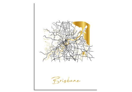 DesignClaud Brisbane Plattegrond Stadskaart poster met goudfolie bedrukking