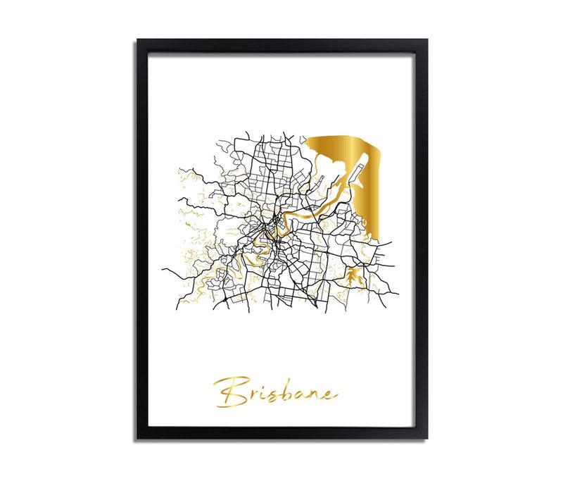 Brisbane Plattegrond Stadskaart poster met goudfolie bedrukking