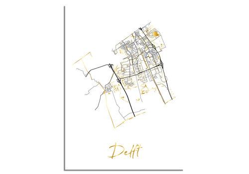 DesignClaud Delft Plattegrond Stadskaart poster met goudfolie bedrukking