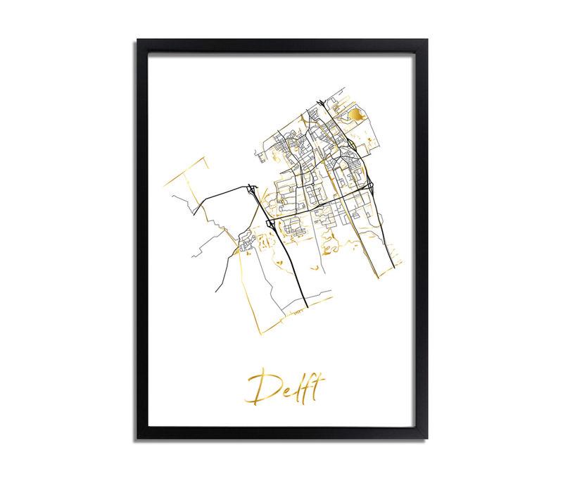 Delft Karte Stadtplan Poster mit Goldfoliendruck