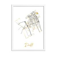 Delft Plattegrond Stadskaart poster met goudfolie bedrukking