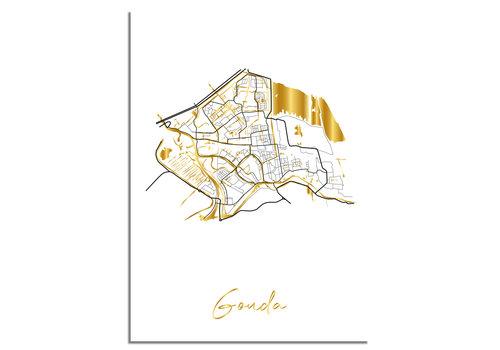 DesignClaud Gouda Karte Stadtplan Poster mit Goldfoliendruck