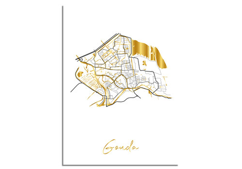 DesignClaud Gouda Plattegrond Stadskaart poster met goudfolie bedrukking