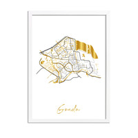 Gouda Karte Stadtplan Poster mit Goldfoliendruck