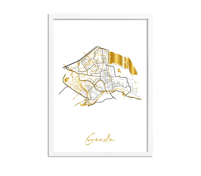 Gouda Plattegrond Stadskaart poster met goudfolie bedrukking