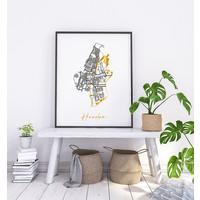 Haarlem Plattegrond Stadskaart poster met goudfolie bedrukking