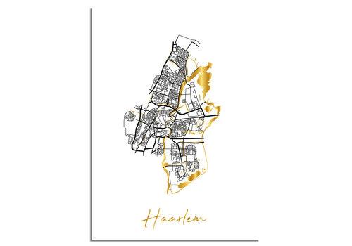 DesignClaud Haarlem Plattegrond Stadskaart poster met goudfolie bedrukking
