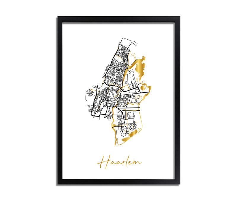 Haarlem Karte Stadtplan Poster mit Goldfoliendruck