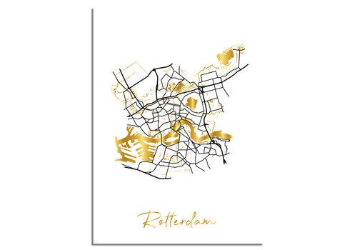 DesignClaud Rotterdam Karte Stadtplan Poster mit Goldfoliendruck