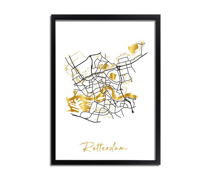 Rotterdam Plattegrond Stadskaart poster met goudfolie bedrukking