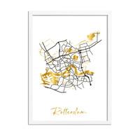 Rotterdam Karte Stadtplan Poster mit Goldfoliendruck